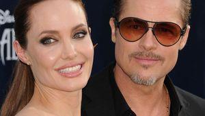 Angelina Jolie und Brad Pitt strahlend