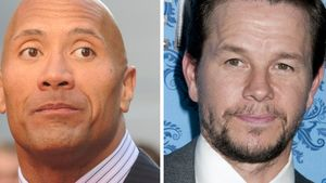 "Dwayne ""The Rock"" Johnson und Mark Wahlberg Collage"