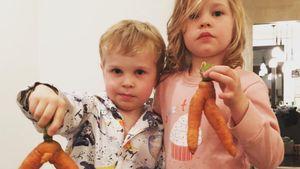 Harper und Gideon mit Karotten