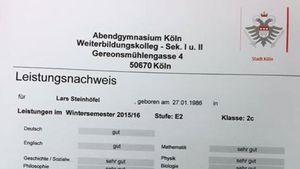Lars Steinhöfel Zeugnis Abendgymnasium