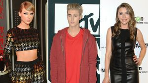 Taylor Swift, Justin Bieber, Sarah Chalke in einer Collage