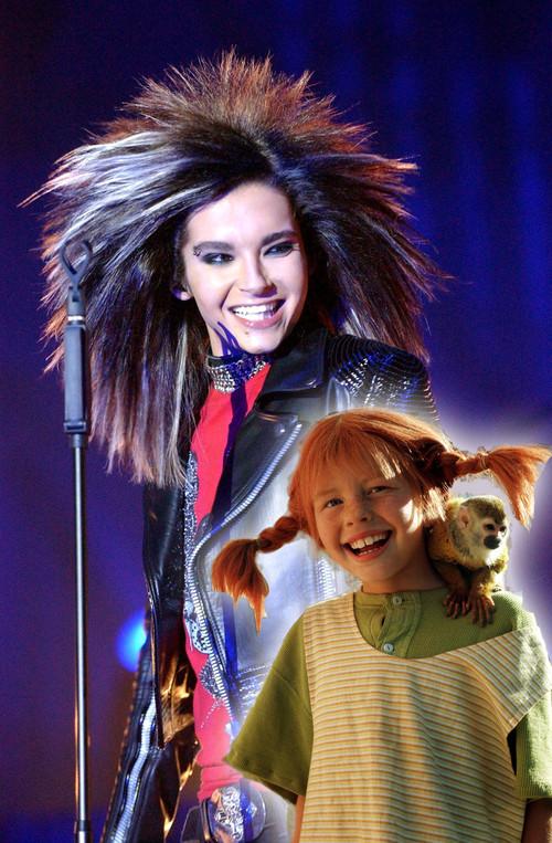 Bill Kaulitz, Tokio Hotel - Bill Kaulitz vestido como el carnaval, como Pipi Calzaslargas