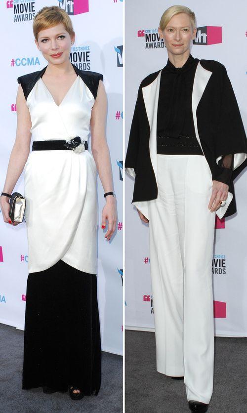 Michelle Williams und Tilda Swinton setzen auf einen kontrastreichen Look