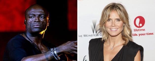 Seal auf der Bühne und Heidi Klum in einem schwarzen Kleid