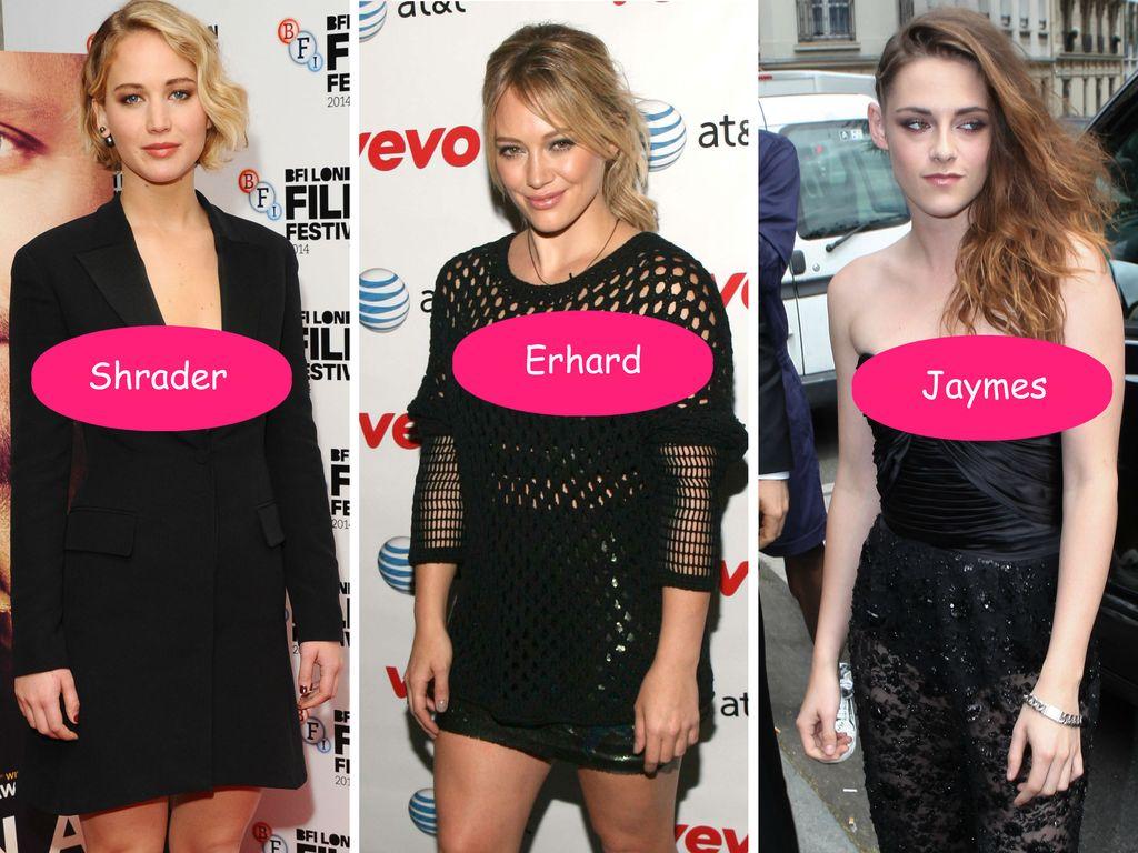 Jennifer Lawrence, Kristen Stewart und Hilary Duff