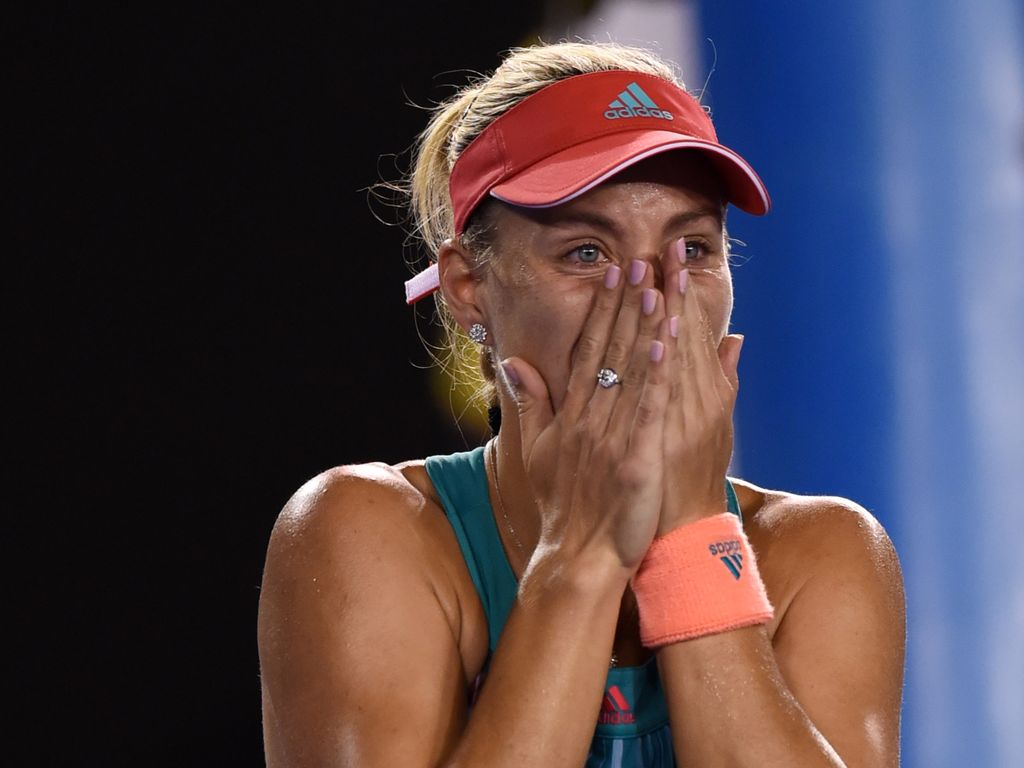 Tennisstar Angelique Kerber im Moment des Sieges der Australian Open 2016