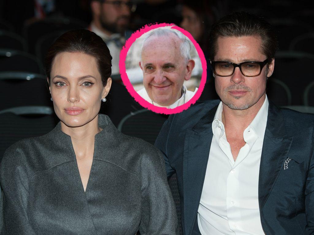 Angelina Jolie, Brad Pitt und Papst Franziskus I.