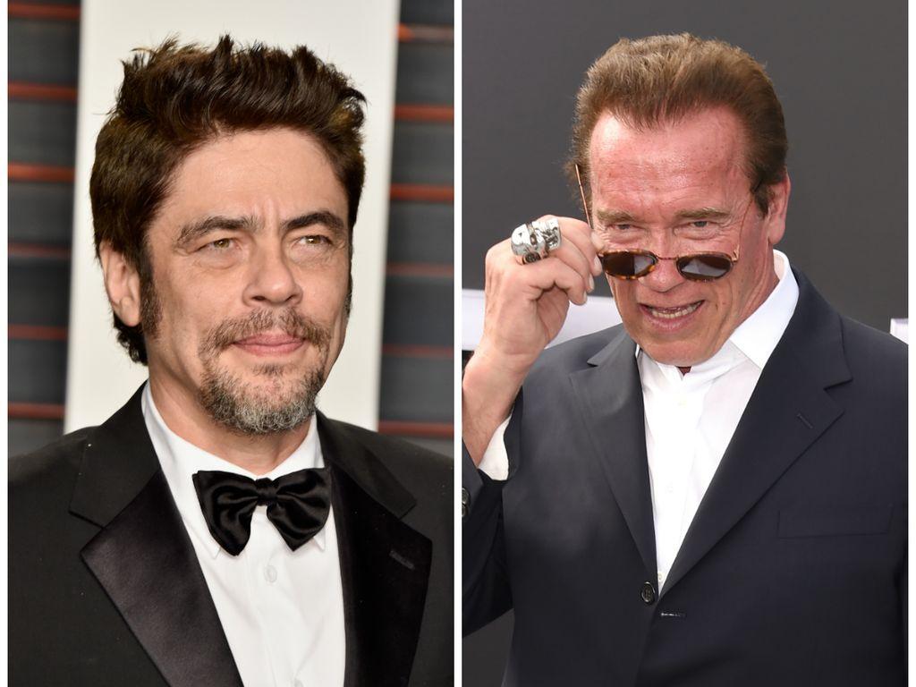 Benicio Del Toro (l.) und Arnold Schwarzenegger