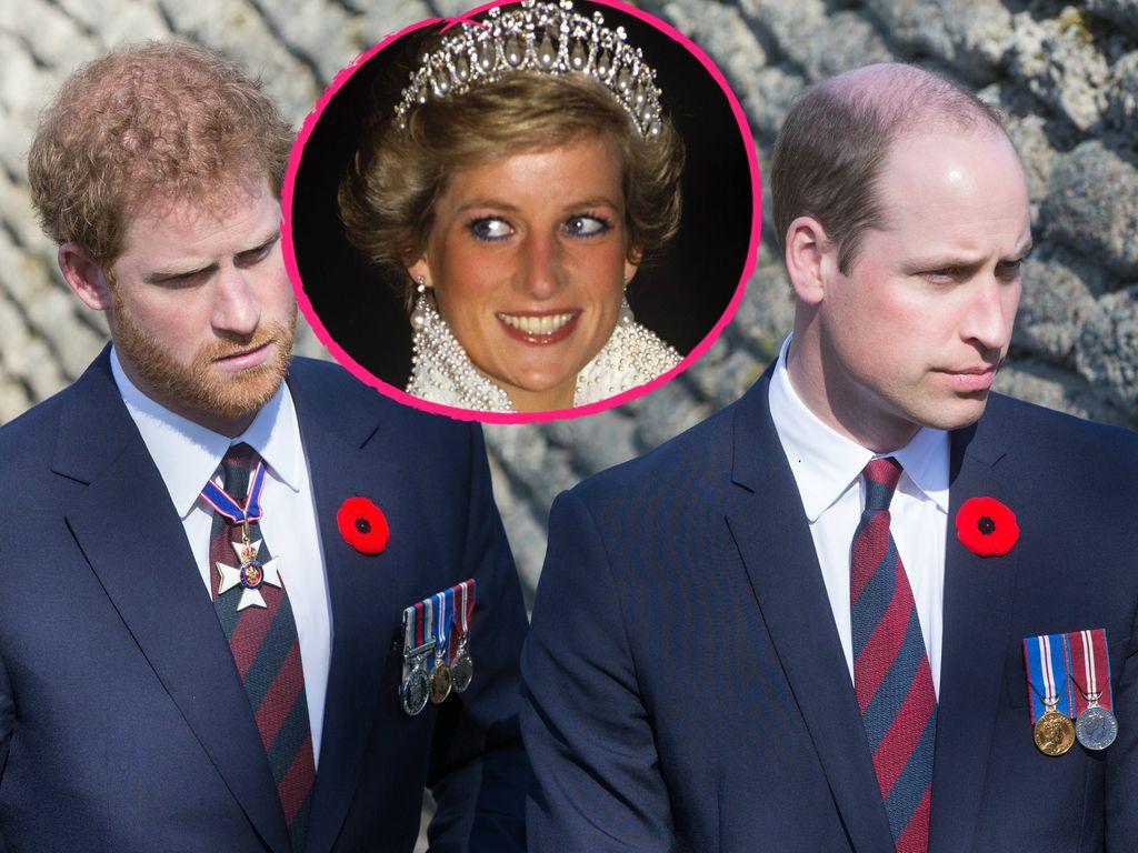 Prinz Harry, Prinz William und ihre Mutter Prinzessin Diana