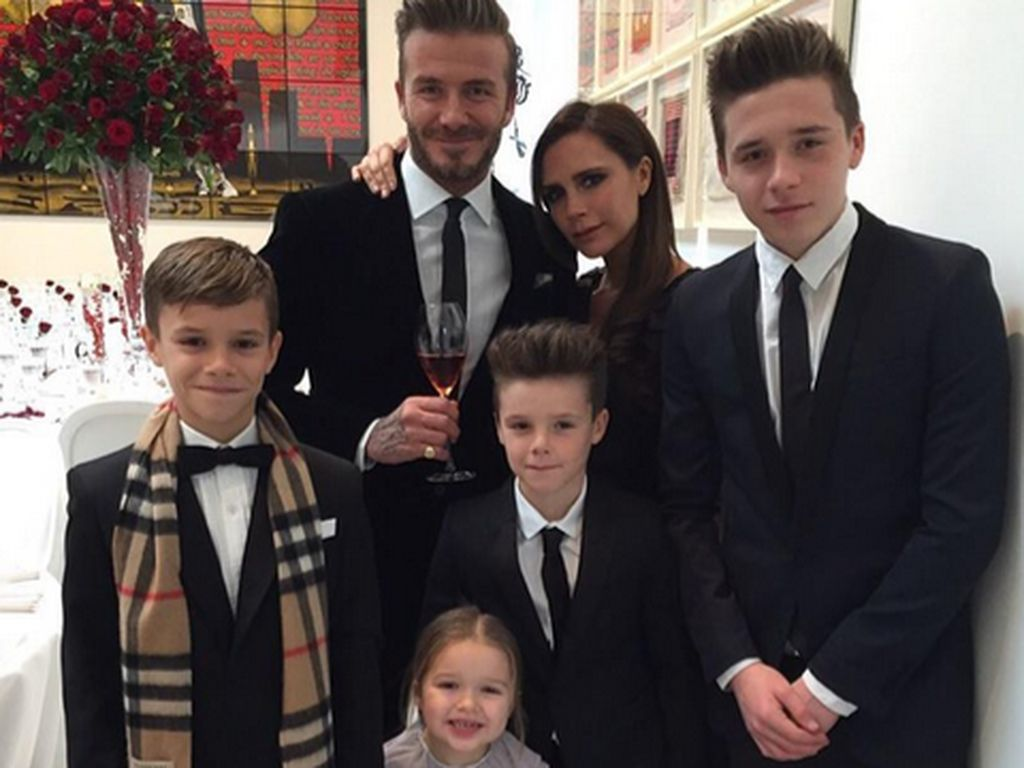 David Beckham, Victoria Beckham, Brooklyn Beckham, Romeo Beckham, Harper Seven Beckham und Cruz Beck