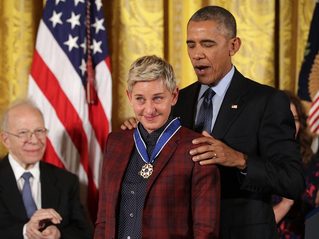 Ellen DeGeneres und Barack Obama im weißen Haus