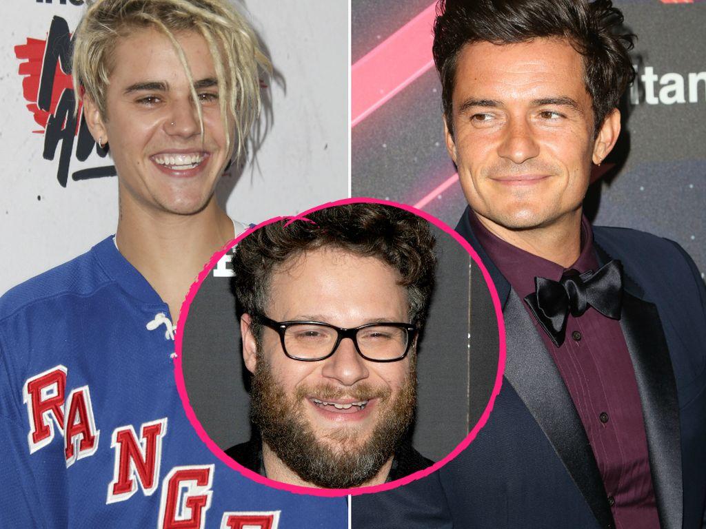 Justin Bieber, Orlando Bloom und Seth Rogen