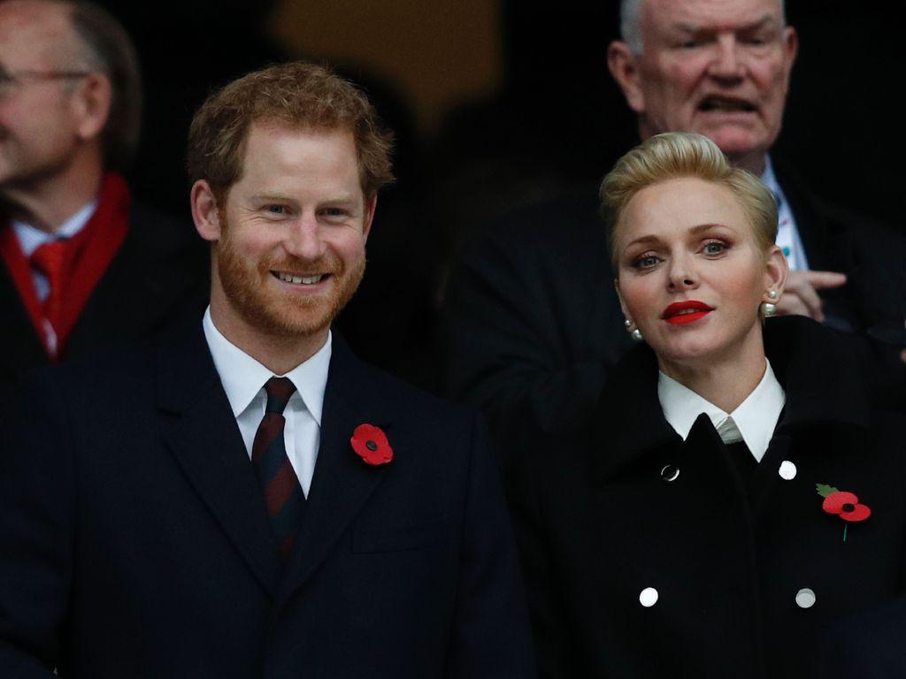 Prinz Harry und Fürstin Charlène von Monaco beim Rugby