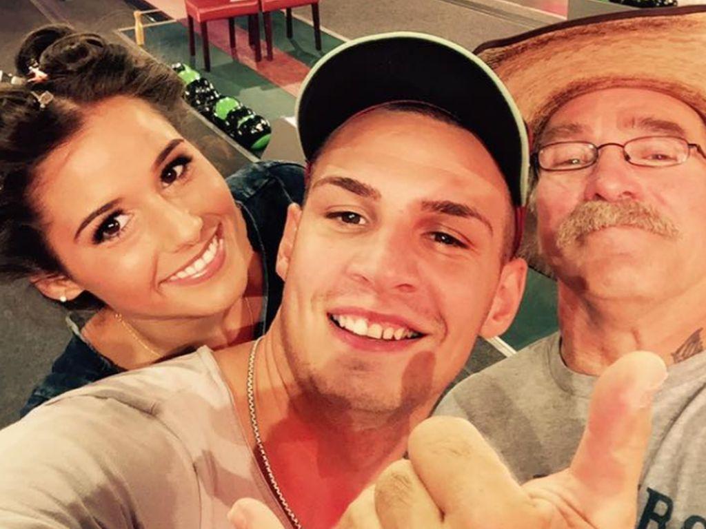 "Sarah und Pietro Lombardi mit Konny Reimann vor dem ""RTL 2-Promi-Kegelabend"""