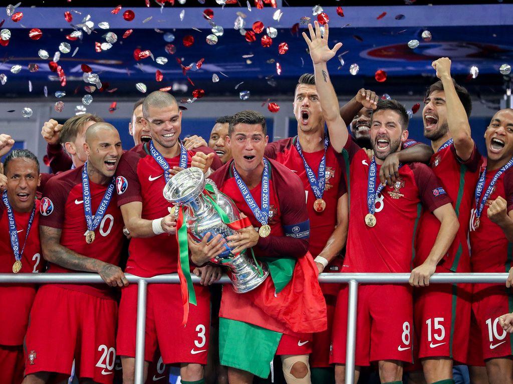 Siegerehrung des portugiesischen EM-Teams