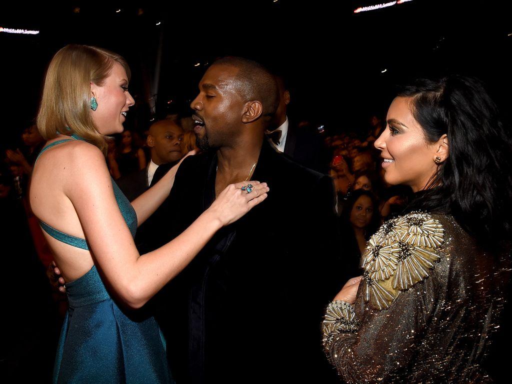 Taylor Swift, Kanye West und Kim Kardashian bei den 57. GRAMMY-Awards 2015