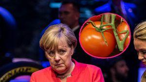 Fies! Kanzlerin Angela Merkel mit Tomaten beworfen!