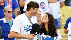 Ashton Kutcher und Mila Kunis bei einem Spiel der LA Dodgers 2016