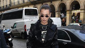Ziemlich düster: Bella Hadid im Matrix-Look bei Fashion Week