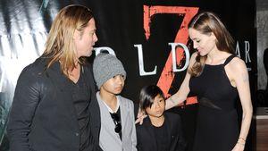 Brad Pitt, Maddox, Pax Thien und Angelina Jolie im Juni 2013 bei einer Filmpremiere in London