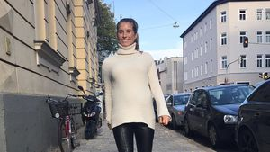 Schwangere Cathy Hummels: Mega-stylish in Skinny-Lederpants