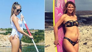 Mit Babykugel auf Surfbrett: Cathy Hummels macht auf Janni