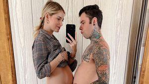 Schwangere Chiara Ferragni und Mann machen Bauch-Vergleich