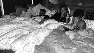 Schwangere Ciara macht mit ihren Kindern Übernachtungsparty