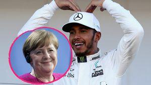 Rasante Liebe: Lewis Hamilton hat ein Herz für Angela Merkel