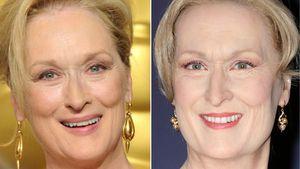 Meryl Streep bei den Oscars 2012 und als Wachsfigur