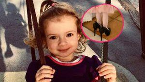In große Katzen-Fußstapfen: Sophia trägt Mama Danielas Pumps