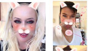Daniela Katzenberger, Lucas Cordalis und Sophia mit Katzen-Filter