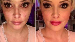 Daniela Katzenberger ungeschminkt und geschminkt