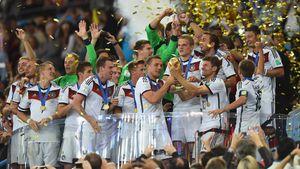 Die deutsche Fußballnationalmannschaft feiert WM-Sieg 2015 in Rio de Janeiro