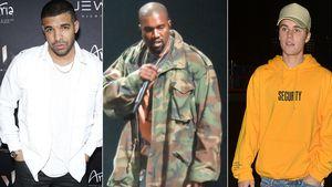 Drake, Kanye West, Justin Bieber (v.l.)