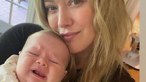 Ups: Hier knuddelte Hilary Duff ihr Baby Mae etwas zu doll!