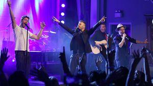 Howard Donald, Gary Barlow, und Mark Owen von Take That