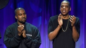 Kanye West und Jay-Z beim Tidal Launch 2015 in NYC