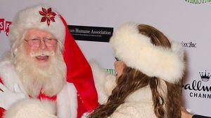 Welcher Star stürmt denn da auf Santa Claus zu?