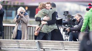 Liam Neeson und Thomas Brodie-Sangster bei Dreharbeiten in London