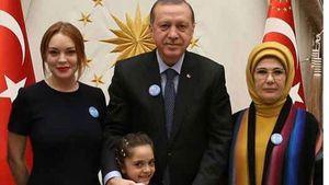 Lindsay Lohan, Recep Erdogan und seine Frau in der Türkei