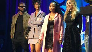 Madonna, Rihanna, Usher und Nicki Minaj stehen bei der Tidal-Pressekonferenz