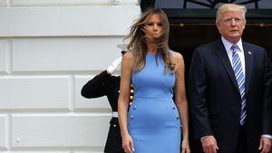 Melania Trump und Donald Trump vor dem Weißen Haus