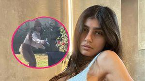 Mia Khalifa sammelt Kot mit Maske ein und setzt sie dann auf