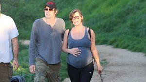 Mega-Babykugel! Milla Jovovich wandert mit Gepäck