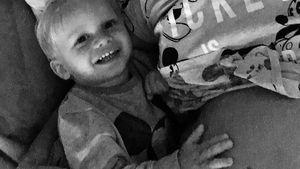 Oksana Kolenitchenko mit ihrem Sohn Milan während ihrer zweiten Schwangerschaft
