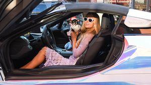 Passend zum Wagen: Paris Hilton betört im Lavendel-Look