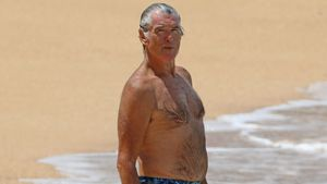 Immer noch sexy! Hier planscht Ex-007 Pierce Brosnan im Meer