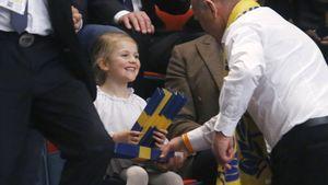 Prinzessin Estelle beim Handballspiel Schweden gegen Spanien in Stockholm