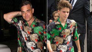 Robbie vs. Cruz Beckham: Wem steht das Gucci-Shirt besser?